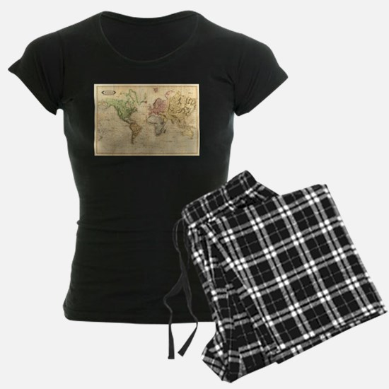 Vintage Map of The World (1831) Pajamas