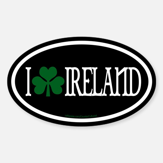 I Love Ireland Euros Oval Decal