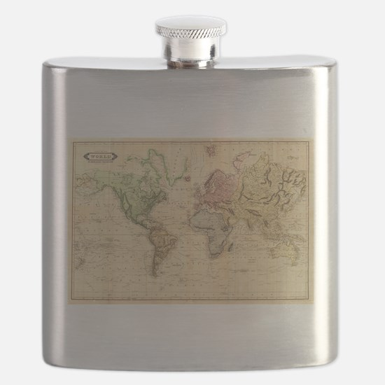 Vintage Map of The World (1831) Flask