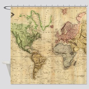 Vintage Map Of The World 1831 Shower Curtain