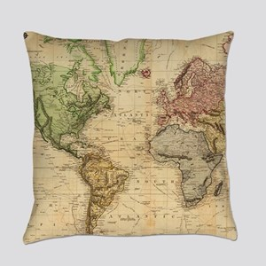 Vintage Map of The World (1831) Everyday Pillow