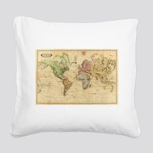 Vintage Map of The World (183 Square Canvas Pillow