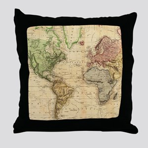 Vintage Map of The World (1831) Throw Pillow