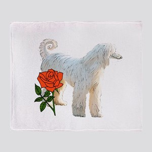 Afghan Hound and Rose Throw Blanket