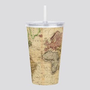 Vintage Map of The Wor Acrylic Double-wall Tumbler