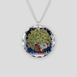 SHAGGY AFRO DOG HAIR Necklace Circle Charm
