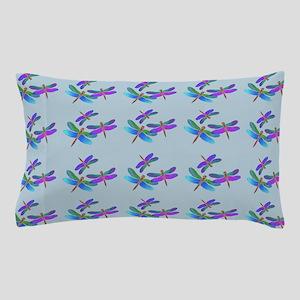Iridescent Dragonflies Blue Pillow Case