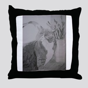 Artistic Cat Muse Throw Pillow