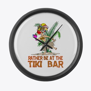 Rather be.... Tiki Goddess Large Wall Clock