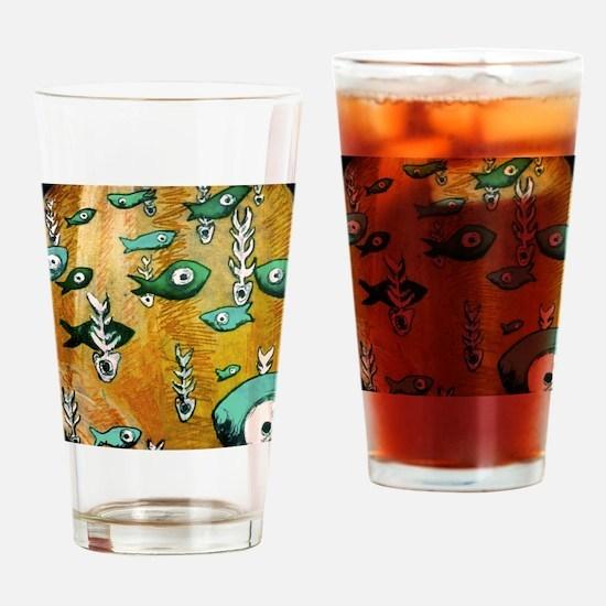 Orange Fish & Bone Drinking Glass