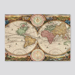 Vintage Map of The World (1730) 5'x7'Area Rug
