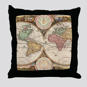 Vintage Map of The World (1730) Throw Pillow