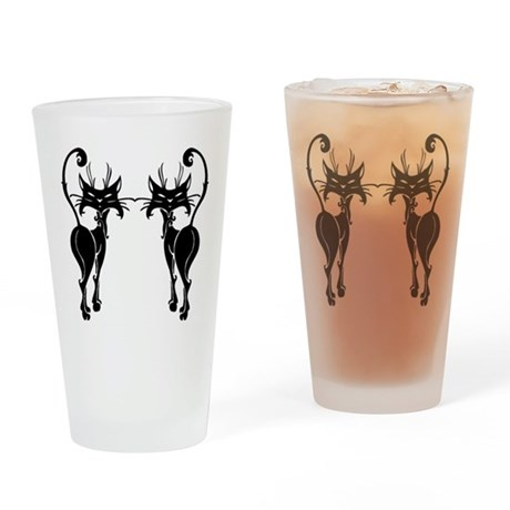 Black Siamese Twins Drinking Glass