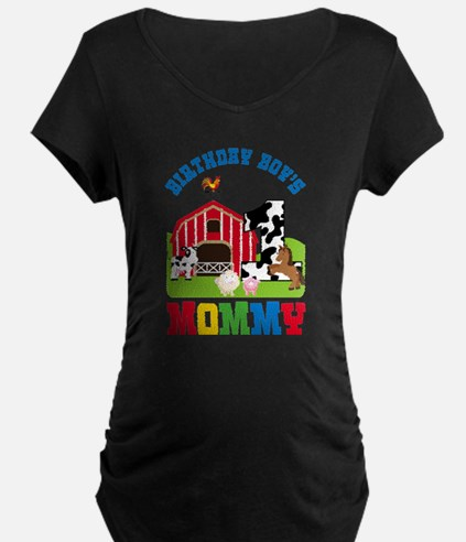 Farm Birthday Boy's Mommy Maternity T-Shirt