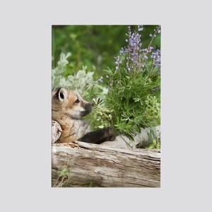 Red Fox Digital Art Rectangle Magnet