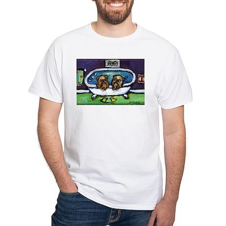 BRUSSELS GRIFFON purple bathr White T-Shirt