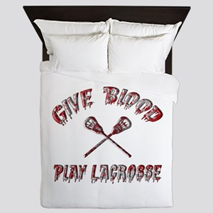 Give Blood Play Lacrosse Queen Duvet