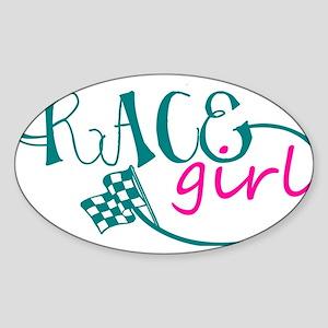 Race Girl Sticker (Oval)