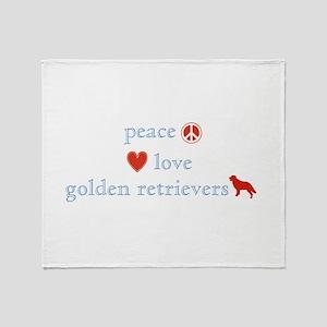 Peace, Love & Golden Retrievers Throw Blanket