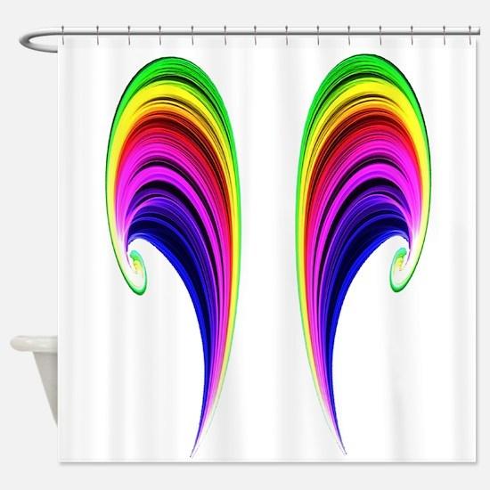 Double Rainbow Scroll Shower Curtain