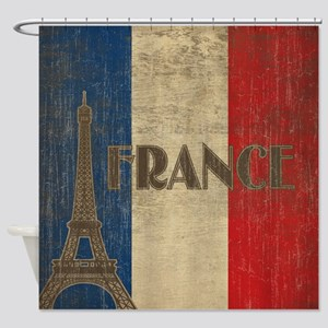 Vintage France Shower Curtain