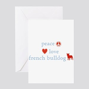 Peace, Love & French Bulldogs Greeting Card
