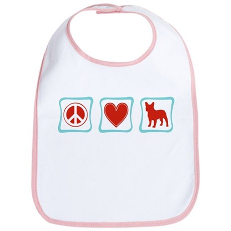Peace, Love, French Bulldogs Bib