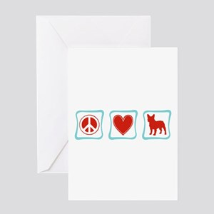 Peace, Love, French Bulldogs Greeting Card