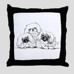 3 Pekingese Puppies Throw Pillow
