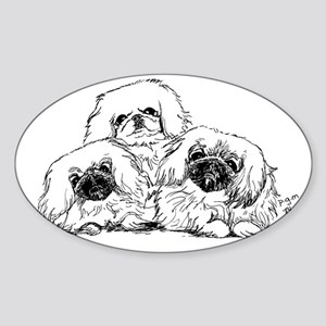 3 Pekingese Puppies Oval Sticker