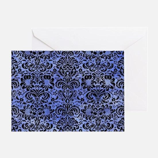DAMASK2 BLACK MARBLE & BLUE WATERCOL Greeting Card