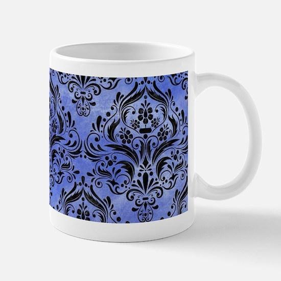 DAMASK1 BLACK MARBLE & BLUE WATE Mug
