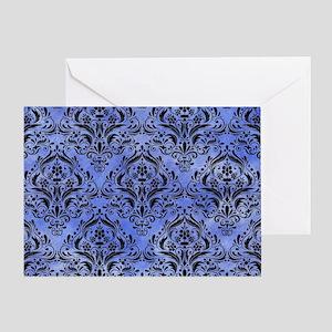 DAMASK1 BLACK MARBLE & BLUE WATERCOL Greeting Card