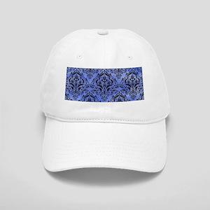 DAMASK1 BLACK MARBLE & BLUE WATERCOLOR (R) Cap