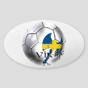 Sverige Viking Soccer Sticker (Oval)