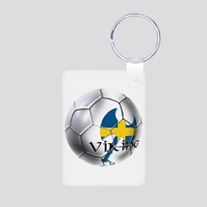 Sverige Viking Soccer Aluminum Photo Keychain
