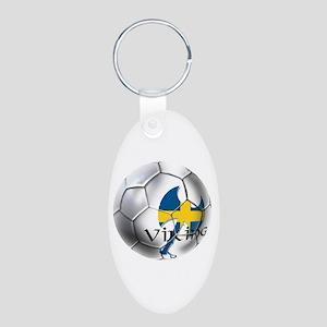 Sverige Viking Soccer Aluminum Oval Keychain