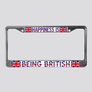 Happiness is Being British License Frame