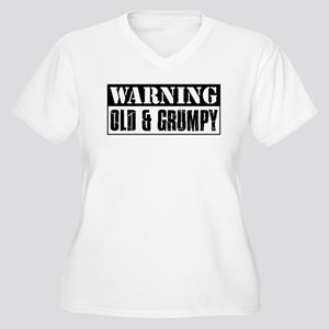 Warning Old And Grumpy Women's Plus Size V-Neck T-