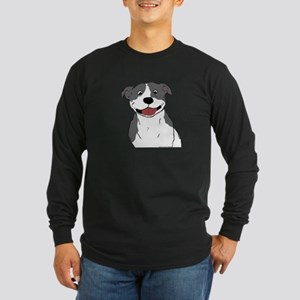 Smiling Pit Bull Blue Long Sleeve Dark T-Shirt