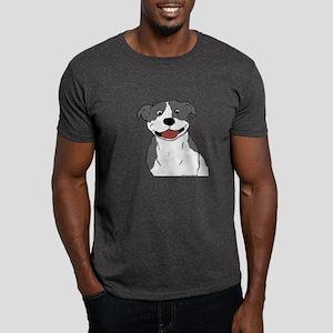 Smiling Pit Bull Blue Dark T-Shirt