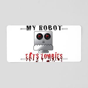 My Robot Eats Zombies Aluminum License Plate