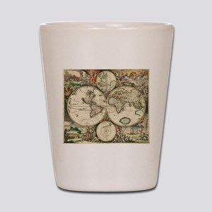 Vintage Map Shot Glass