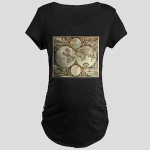 Vintage Map Maternity Dark T-Shirt