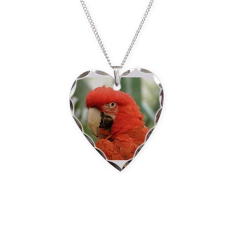 Red Parrot Necklace Heart Charm