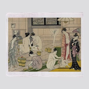 Torii Kiyonaga bathhouse women Throw Blanket