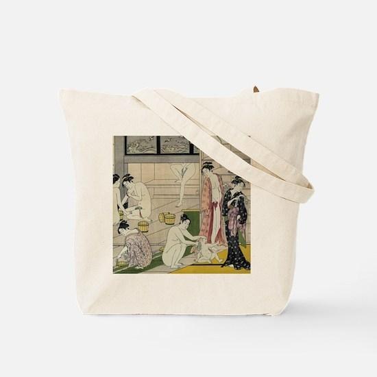 Torii Kiyonaga bathhouse women Tote Bag