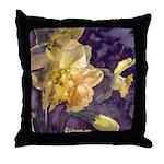 Moonlight Daffodil Watercolor Throw Pillow