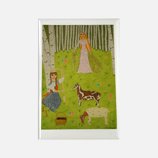 Wood Maiden Rectangle Magnet