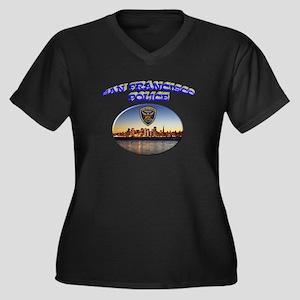 SFPD Skyline Women's Plus Size V-Neck Dark T-Shirt